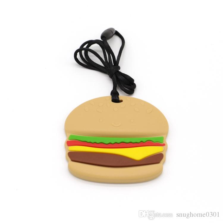 100% FDA Silicone Sensory Chew Necklace Toy Hamburger Shape Teether, Best for Sore Gums Pain Relief And Kids With Special Need ,BPA-Free