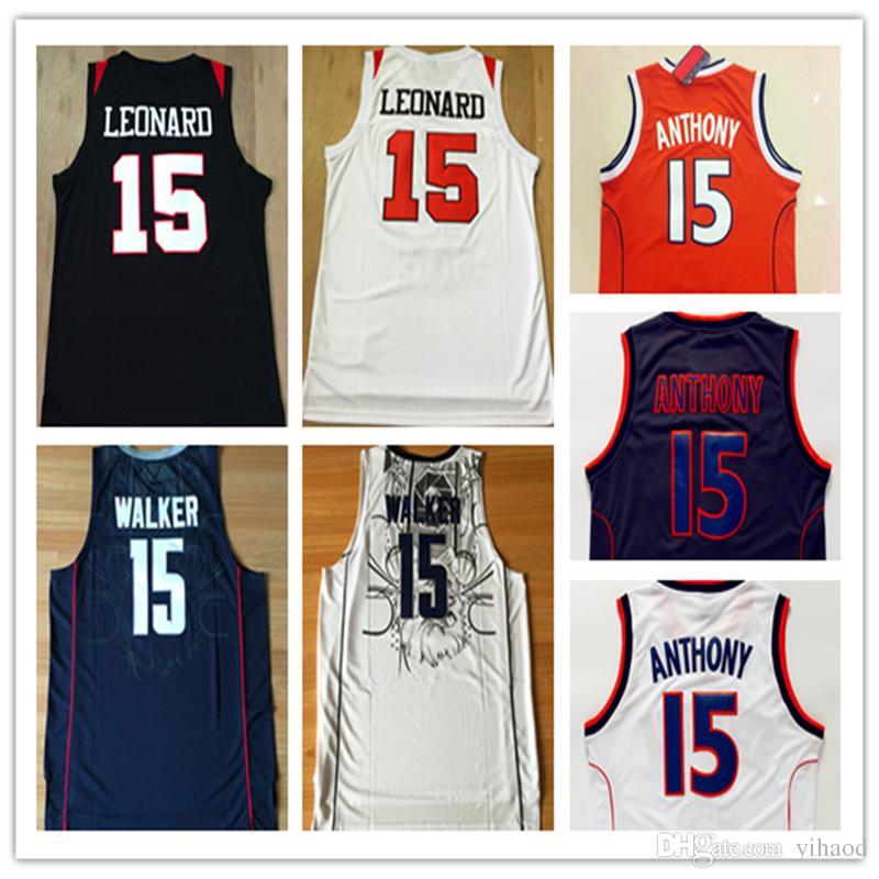 best service db477 b6ffa NCAA Uconn Academy Jerseys Men # 15 Kawhi Leonard Basketball Jersey 15  Kemba Walker White Black 15 Carmelo Anthony Shirt Free Shipping