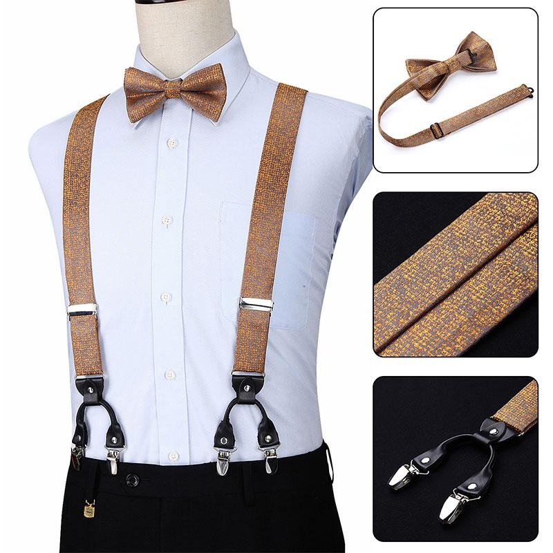 62294262b7cd Pre Tied Bow Tie And Pocket Square Set Party Wedding Checks Solid Fashion  Various 6 Clips Suspender Adjustable Braces S05 Skinny Ties Red Tie From  Naughtie, ...