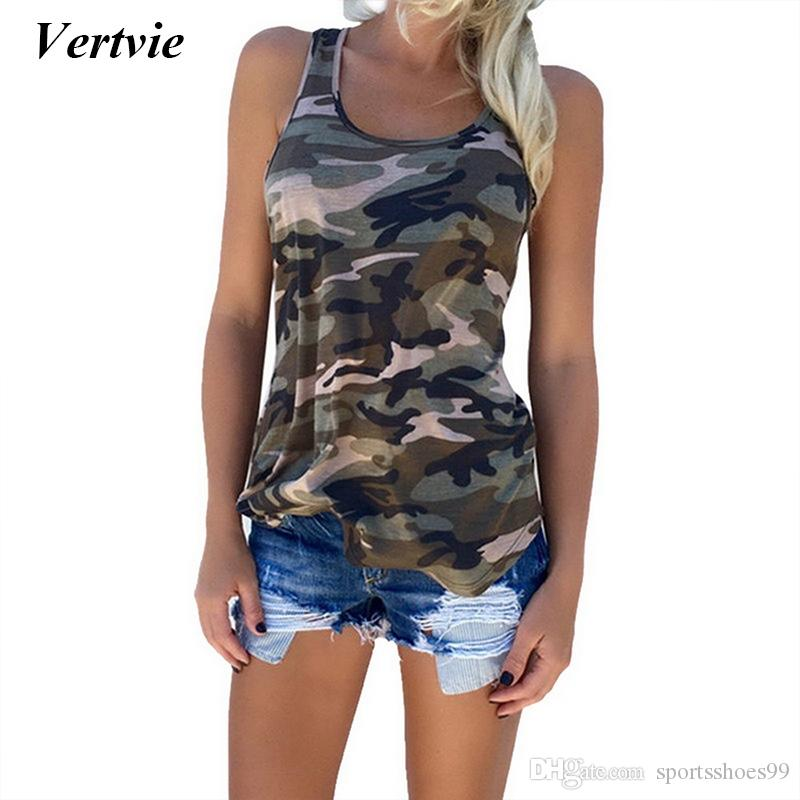 c2136085209f4 2019 Vertvie Fitness Tank Top Women Summer Sleeveless Loose Yoga Shirts For Women  Plus Size Yoga Top Camouflage Printed Shirts Vest #74464 From ...
