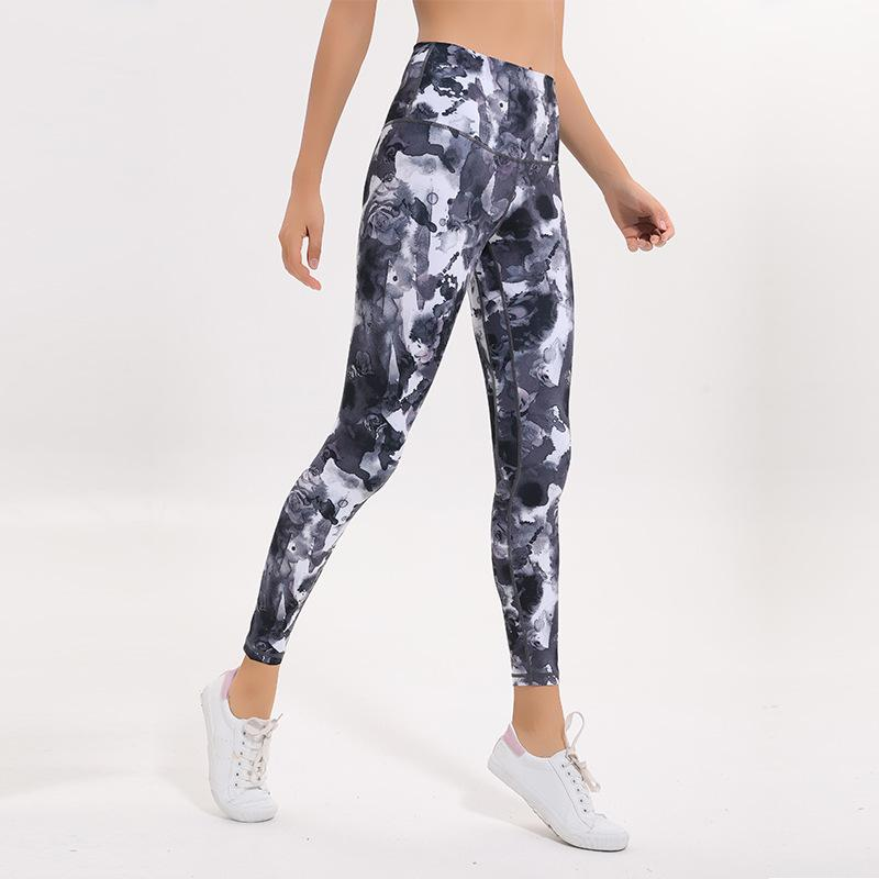 LU-15 Sexy High Rise Women Yoga Pants Outfits Thicken Material Elastic Leggings Spandex Printed Clothing Running