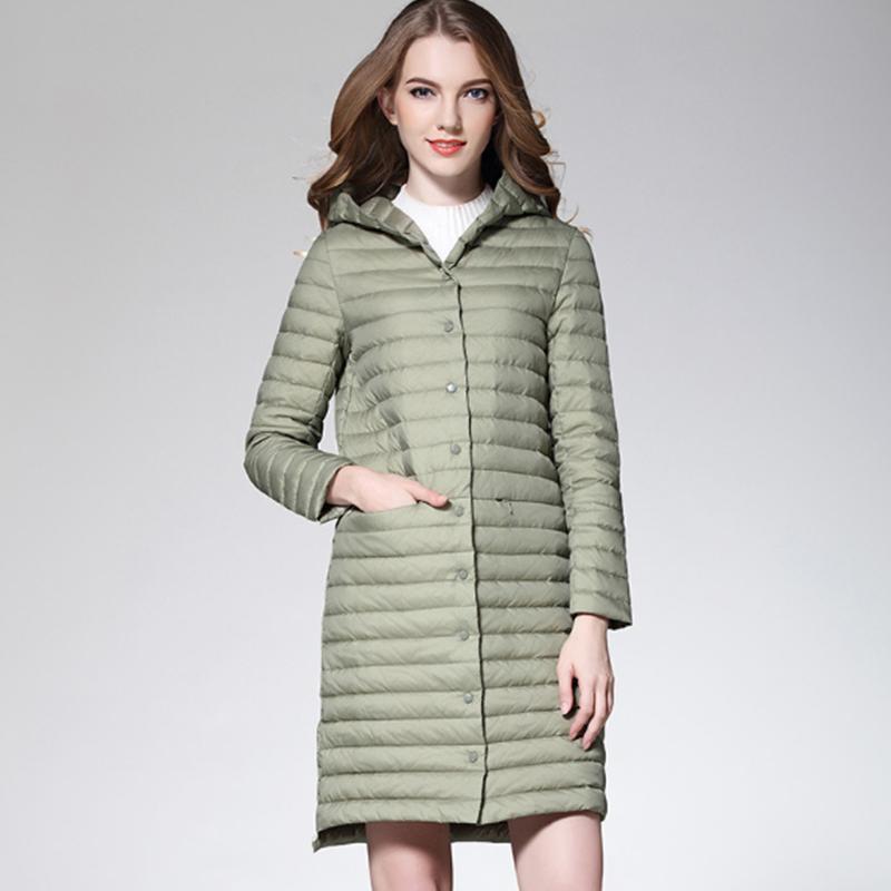 newest 617e0 84840 donna Verde chiaro / grigio / nero / rosa / Vino rosso Cappotto lungo con  cappuccio Piumino ultra leggero bianco Piumini Donna Cappotto invernale ...