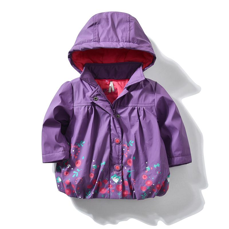 Baby Girls Jackets Waterproof Spring Autumn Kids Girl Hooded Coats Flower Hoodie Children Windbreaker Outerwear 1 2 3 4 5 Years