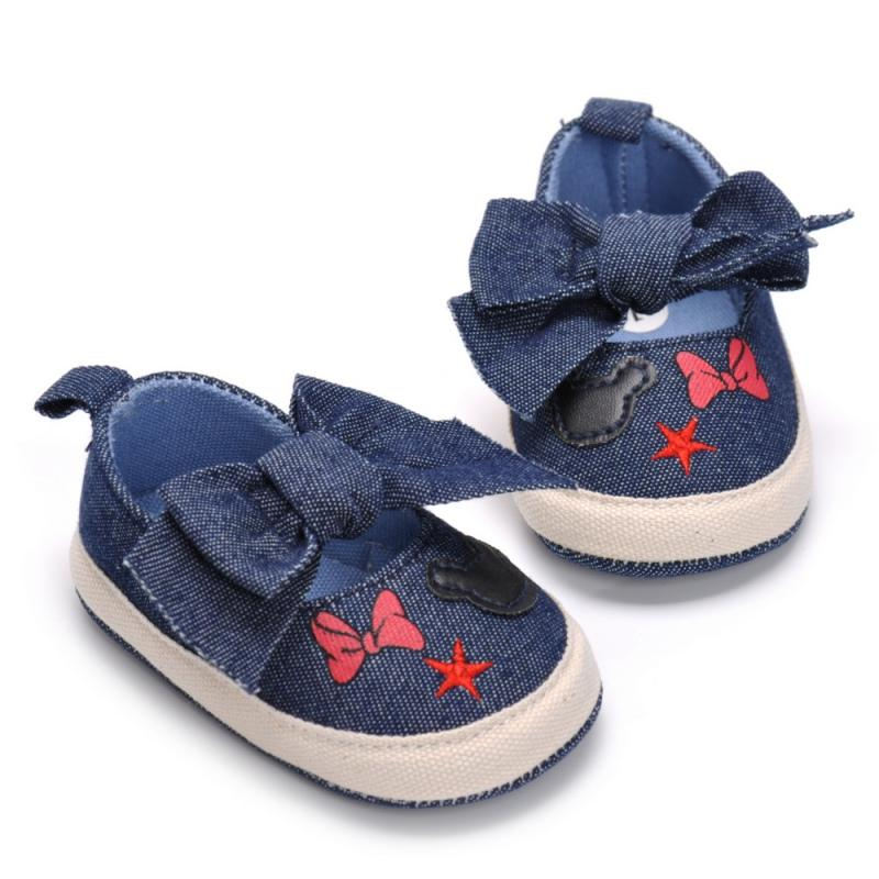 Summer Shoes Baby Canvas Print Baby Shoes Moccasins Cute Bow Soft Sole Prewalkers Summer Toddler Infant Girls