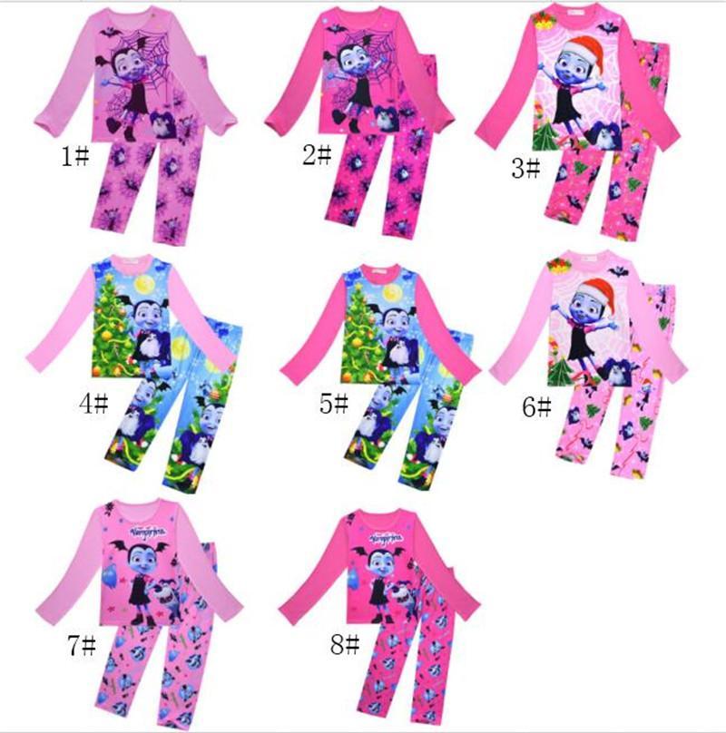 9834ed67dae8 Kids Vampire Pajamas Christmas Vampire Girls Print Sleepwear Girl Cartoon  Homewear Pyjamas Long Sleeve T Shirts +Pants Nightgown Best Winter Pajamas  For ...