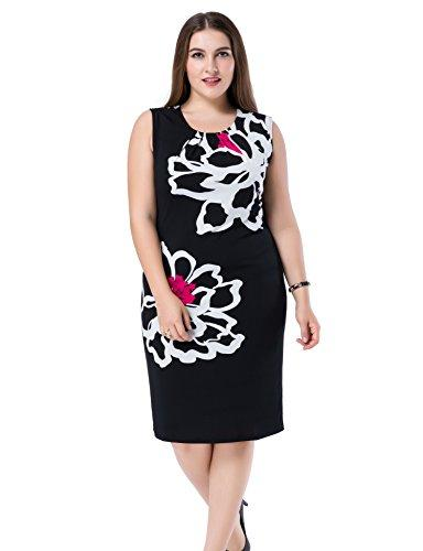 8b3acafa6fd8 Chicwe Women's Plus Size Lined Floral Printed Sleeveless Dress - Knee  Length Work and Casual Dress