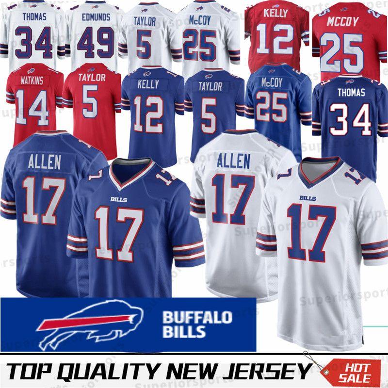 check out b733f e29be 17 Josh Allen Buffalo Bills Jersey 49 Tremaine Edmunds 95 Kyle Williams 21  Poyer LeSean McCoy 12 Jim Kelly 25 ThomasThomas Dareus Stitched