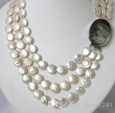 cd80db45804d1 Free shipping Hot sale ~~~~~ 19 14mm 3 strands white coin freshwater pearl  necklace