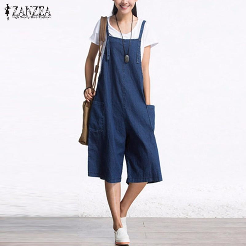 Zanzea Autumn Denim Rompers Womens Jumpsuit Sexy Sleeveless