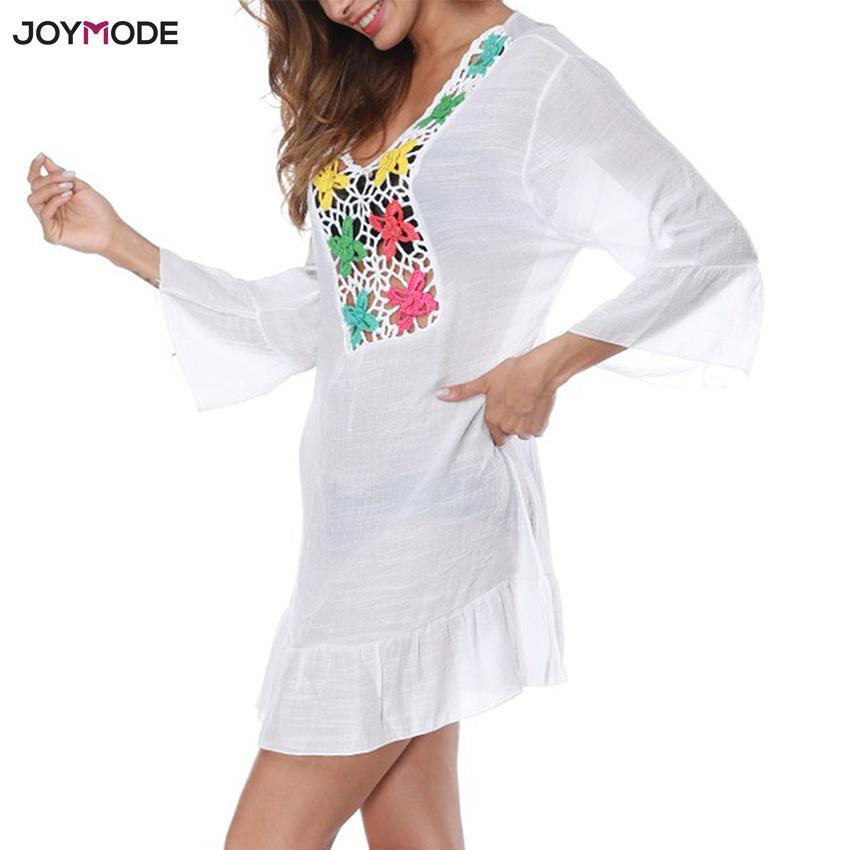 JOYMODE Beach Cover Up Hollow Crochet Pareos Swimsuit Beach Dress Women 2018 Summer Robe De Plage Bathing Suit Beach Wear Tunic