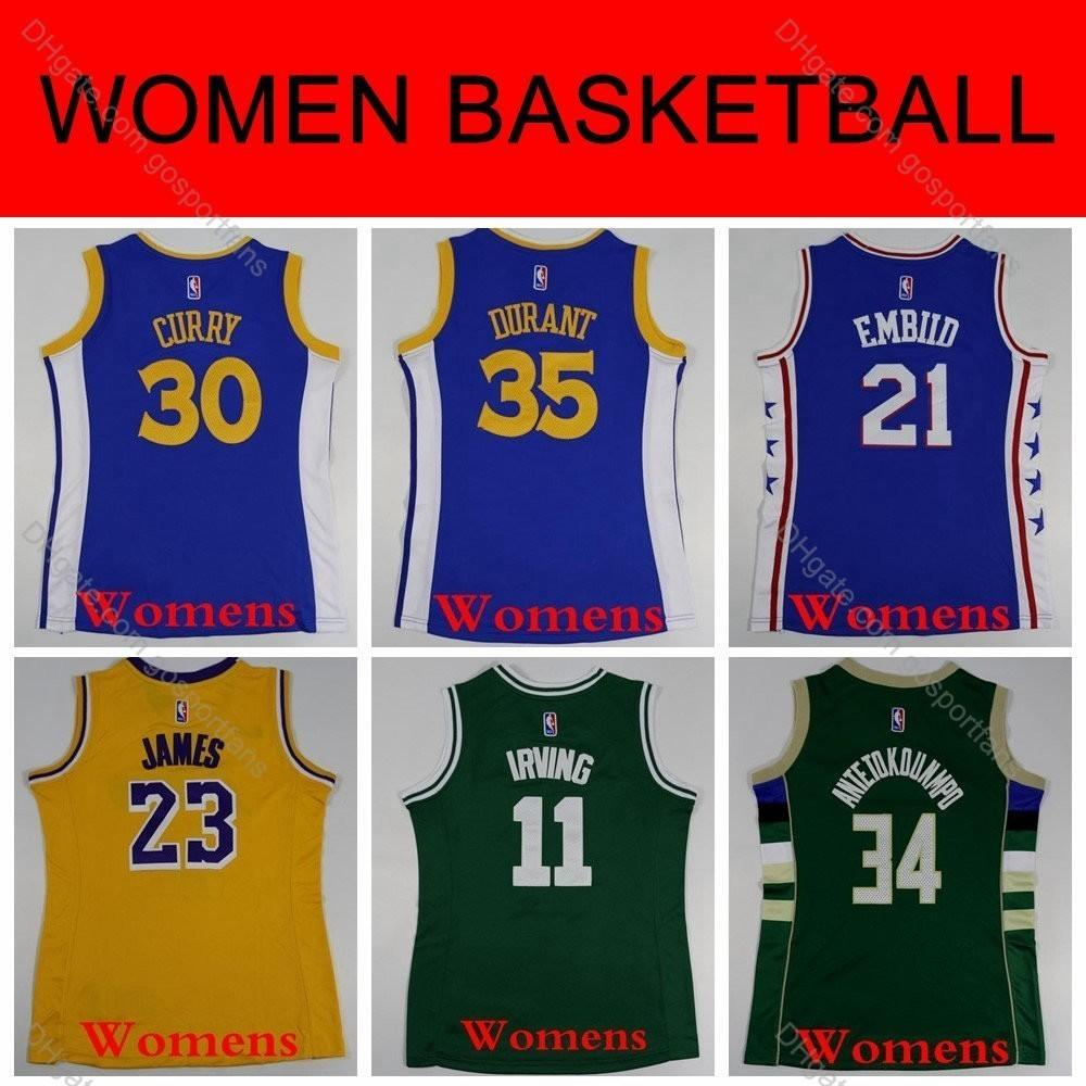 the latest 999f6 d3ad5 Womens Stephen Curry Kevin Durant Celtic Kyrie Irving Laker LeBron James  76ers Joel Embiid Giannis Antetokounmpo Basketball Jerseys Stitched