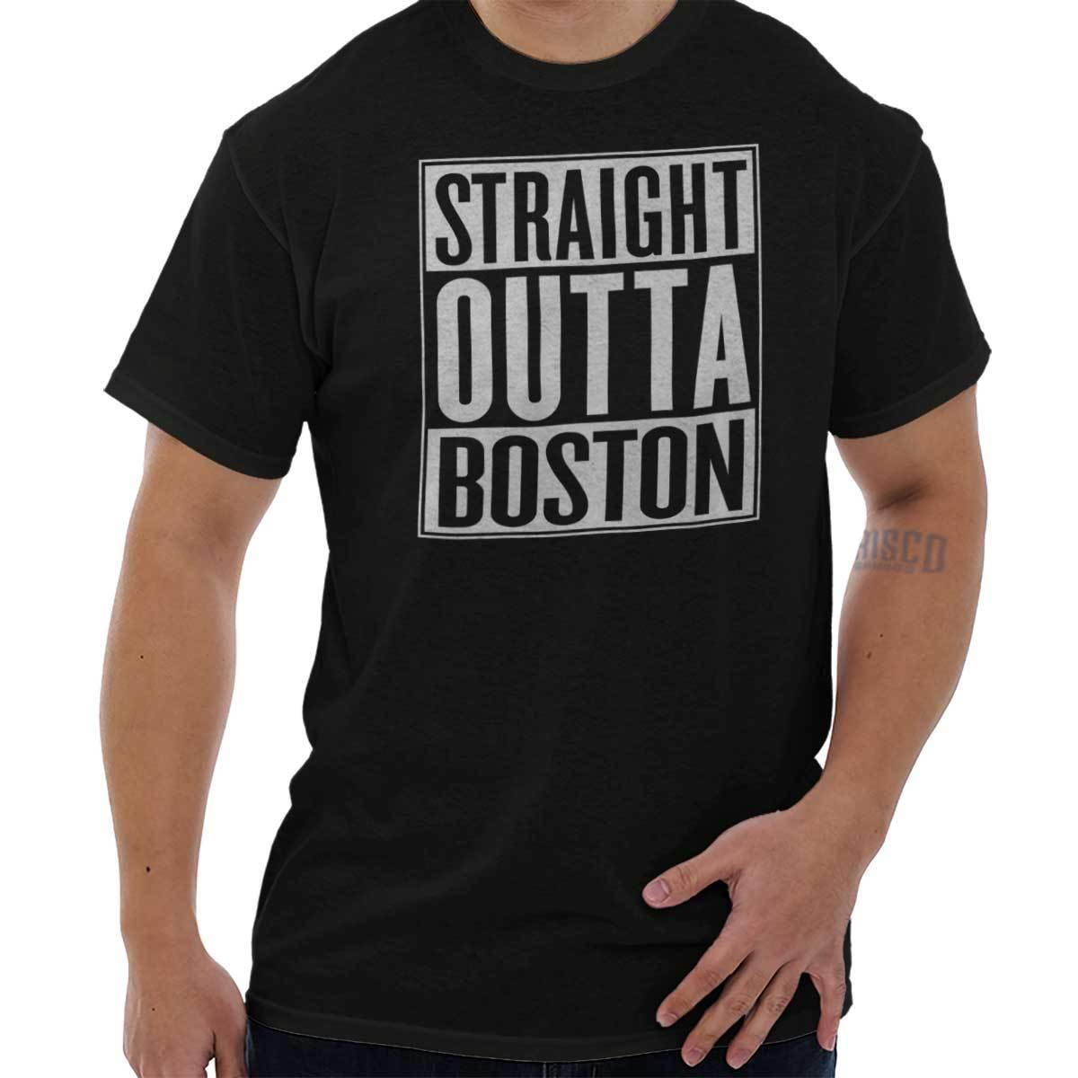 Straight Outta Boston, MA City Funny Movie Magliette Idee regalo T-Shirt Tee Casual manica corta TEE Fashion Style Uomo Tee 2019 hot tee