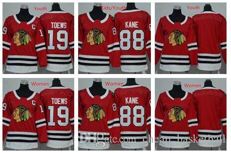 2019 2018 Women Youth Chicago Blackhawks Jerseys 88 Patrick Kane 19  Jonathan Toews Blank Home Red Kids Ice Hockey Jersey Ladies Boys Girls From  ... 8cd5333e7
