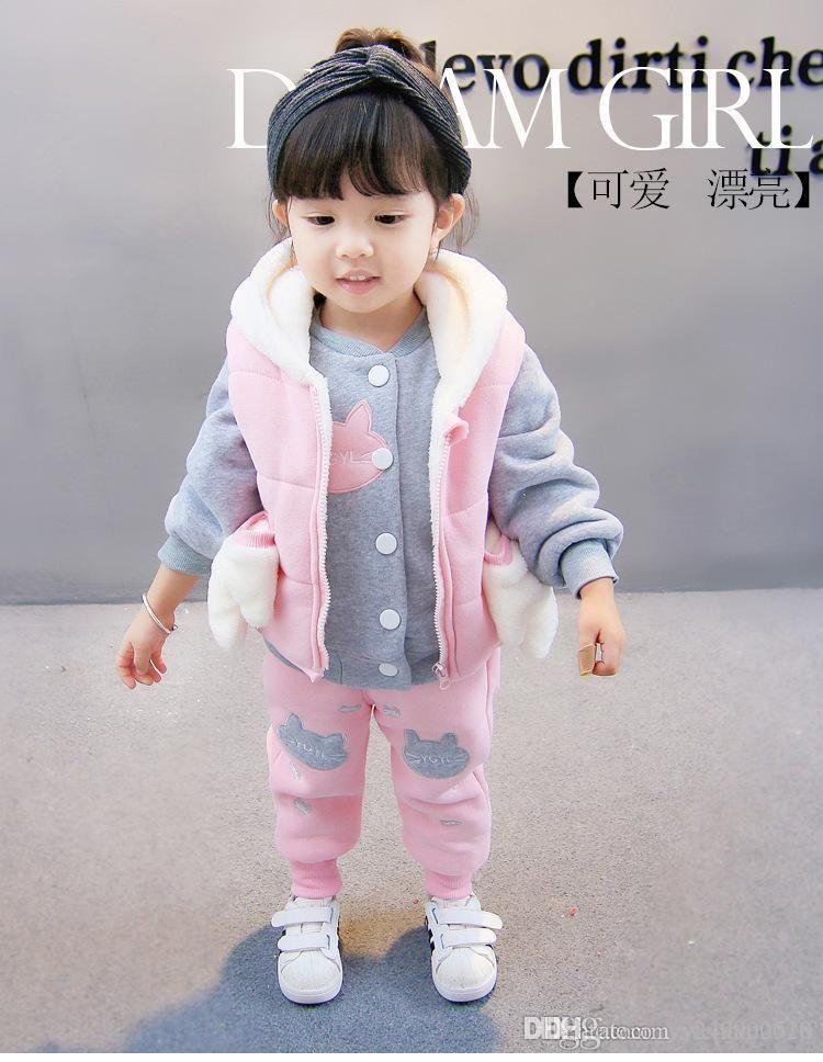 c66f865db 2019 Girl Hoodies Winter Clothing Sets Cute Pink Baby Suit   Kids ...