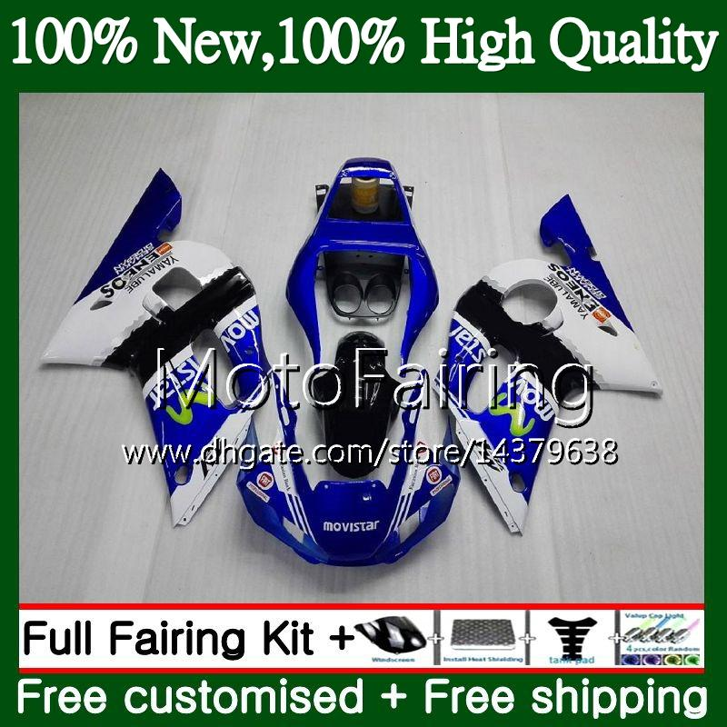 Kit para YAMAHA YZF R6 Azul Movistar YZF600 YZFR6 98 99 00 01 02 88MF21 YZF 600 YZF-R600 YZF-R6 1998 1999 2000 2001 2001 2002 Carenado