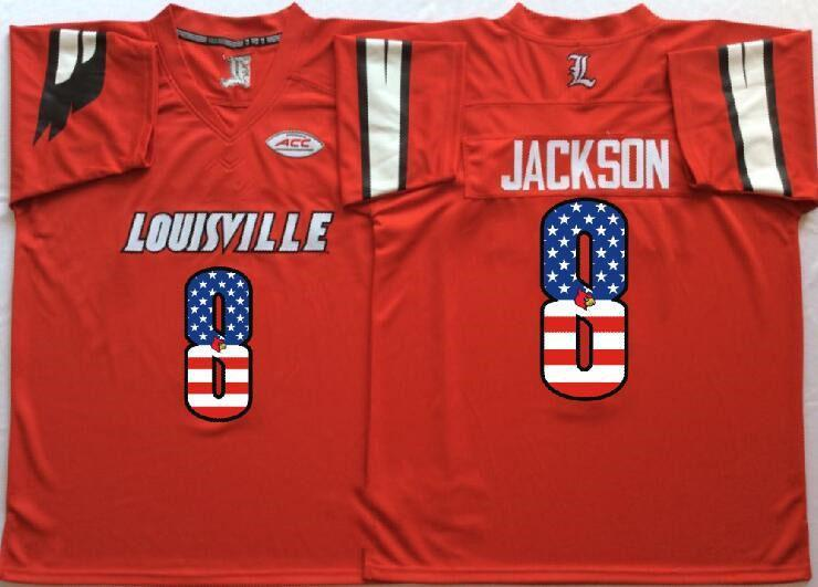 e47cb36c300 2019 Cheap Mens Custom Louisville Cardinals 8 Jackson Red Full Stitched  Logos Best Quality USA Flag College Football Jerseys Size S XXXL From  Since