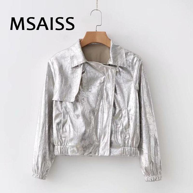 2019 printemps veste de cuir moto moto style punk métallique Faux cuir Vestes manteau Lady Bomber