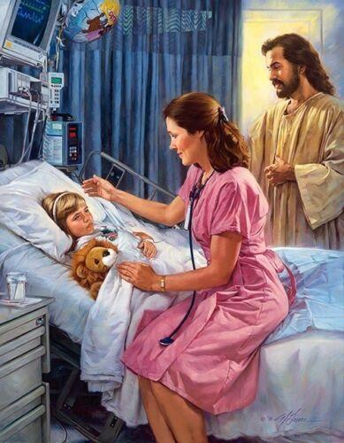Nathan Greene - THE COMFORTER - Jesus & Nurse, Hospital Home Decor HD Print Oil Painting On Canvas Wall Art Canvas Pictures 200110