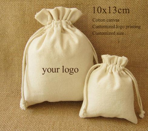 Cotton Canvas Drawstring Bag Jewelry Pouches Cosmetic/Storage/Wedding/Packing/Gift/Earrings/Bead Pocket Custom Logo Print 50pcs