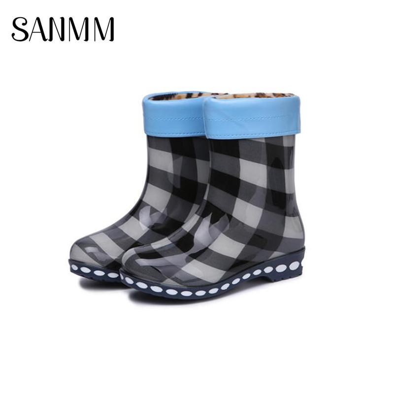 f6a5884b5f7 SANMM Women Non-Slip Mid-Calf Rainboots Flat Platform Autumn Rain Boots PVC  Waterproof Water Shoes Wellies Woman