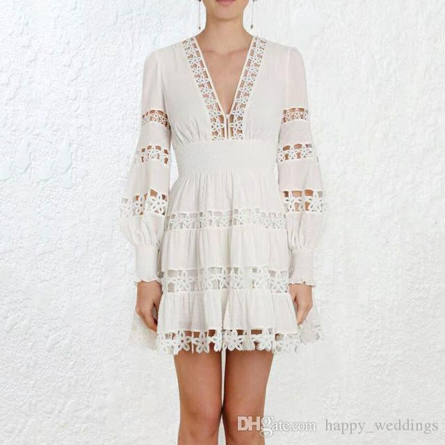 2019 Spring New Arrival Women White Dress High Waist Hollow Out Sexy V Neck  Long Sleeve Dresses Women Lace Mini Dress Vestidos Girl Dress Summer Dresses  For ... c769e9c4e