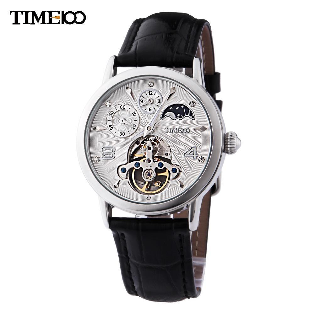 b36daae36b17 Compre Time100 Hombres Automático Viento Automático Reloj Mecánico Sun  Phase Skeleton Tourbillon Estilo Negro Correa De Cuero Relojes Para Hombres  C19010401 ...