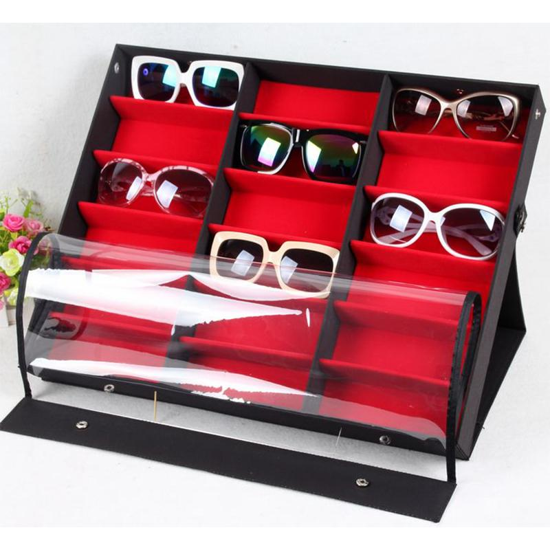 b05b5f1ecedca 2019 Beddom Sunglasses Box Black Wood 18Grids Eyeglass Box Eyewear  Organizer Display Case Collector Sunglasses Storage Holder From Sophine09