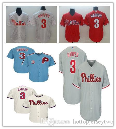 size 40 8de02 4fd77 Philadelphia MEN YOUTH WOMEN 3 Bryce Harper Phillies Majestic Official Cool  Base Player baseball Jersey Scarlet