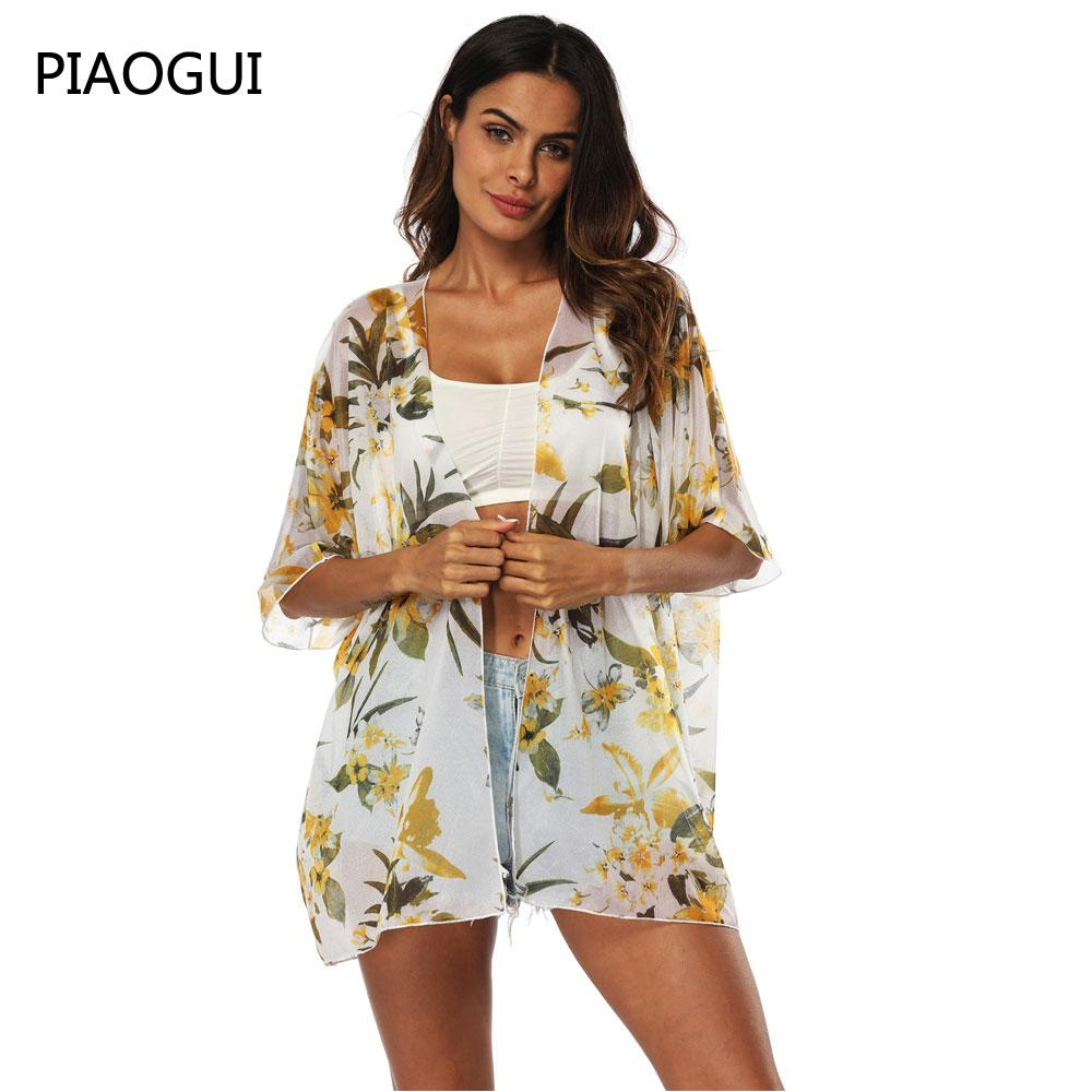 154e8ee6c3 2019 2019 Summer Women Casual Sunscreen Blouses Tops Ladies Beachwear  Chiffon Shirts Women Loose Floral Printed Blouse Tops Thin From Veilolive,  ...