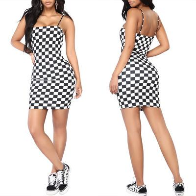 Womens Dress 2019 Summer New Fashion Strap Dress Casual Chess Bottom Wear Skirt Simple Camouflage Print Dress 4 Styles