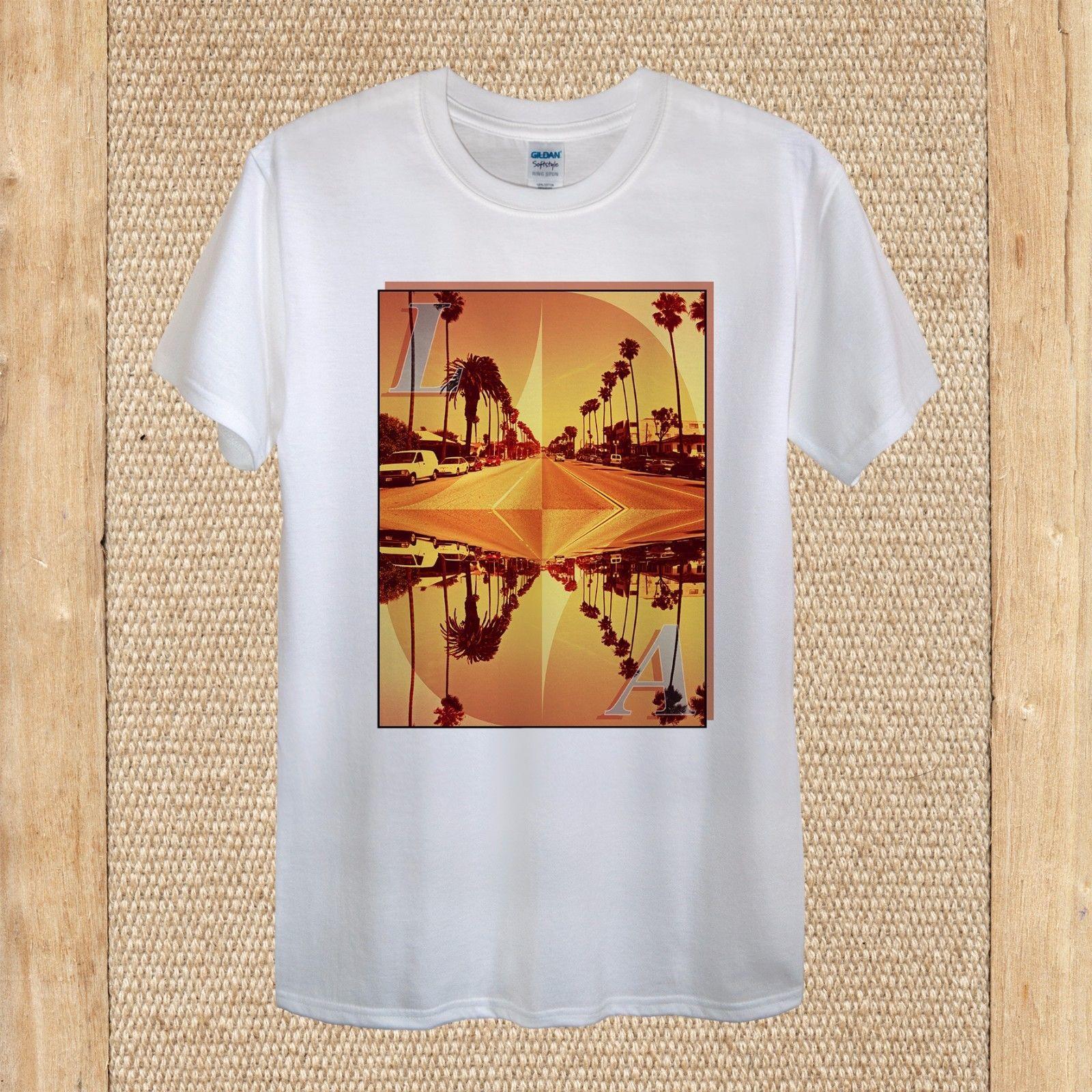 Los Angeles Creative T Shirt Design Travel Usa Palm Quality Unisex