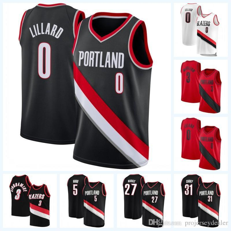 the latest b0d50 ddd71 Mens Damian Lillard 0 CJ McCollum 3 Rodney Hood 5 Jusuf Nurkic 27 Seth  Curry 31 Maurice Harkless 4 Portland Trail Basketball Jersey