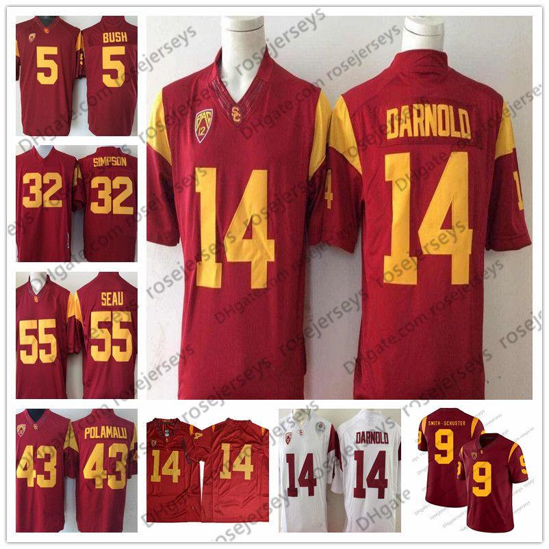 quality design 00a13 8b7f2 Vintage USC Trojans #14 Sam Darnold 43 Troy Polamalu 32 OJ Simpson 55  Junior Seau 5 Reggie Bush JuJu Smith-Schuster Red White Jersey