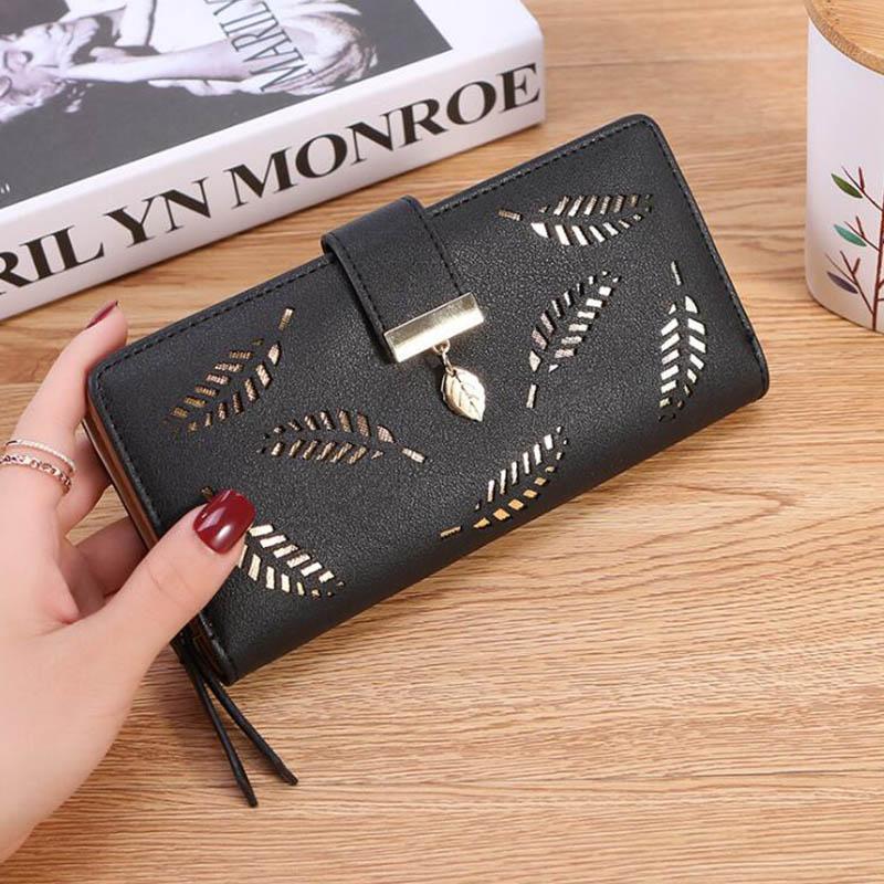Frauen brieftasche pu leder geldbörse weiblichen lange brieftasche gold hohl verlässt tasche handtasche für frauen geldbörse kartenhalter kupplung