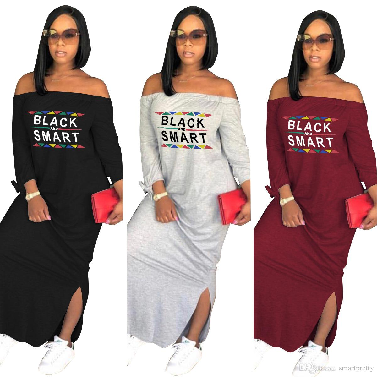 Spring Summer Women Split Maxi Dress Black Smart Letter Long Sleeve Flat Off Shoulder Long Dresses Loose Skirt Designer Club Party Clothes