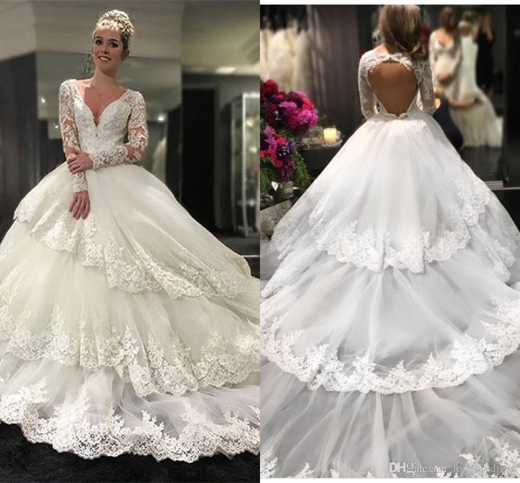 08e1a3301 Three Layers Skirt Long Sleeve Wedding Dresses Ball Gowns Lace Dress V Neck  Open Back Applique Ball Gown Wedding Dress Bridal Gowns Plus Audrey Hepburn  ...