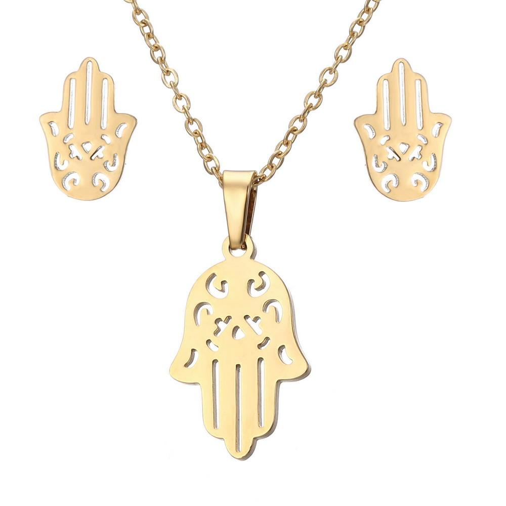 Rinhoo Trendy Fatima Hamsa Hand Pendant Necklaces Earrings Sets Stainless Steel Mens Jewelry For Women Party Jewelry Set