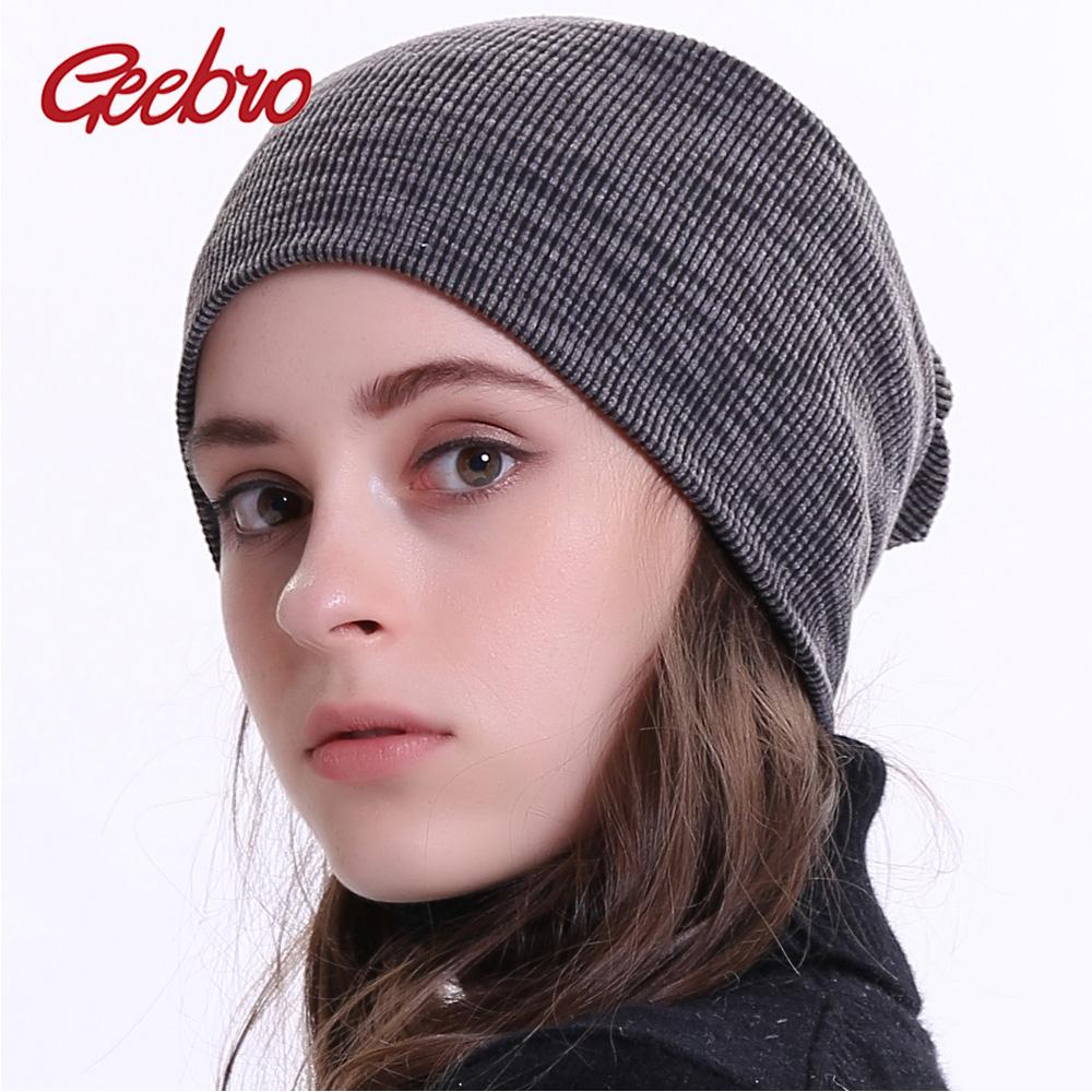 17fe4d9408f Geebro Women Beanie Knitted Ribbed Beanies Hat Winter Cap Solid Color  Slouch Hats Skullies Chapeu Feminino DQ400M Crochet Baby Hats Ladies Hats  From ...