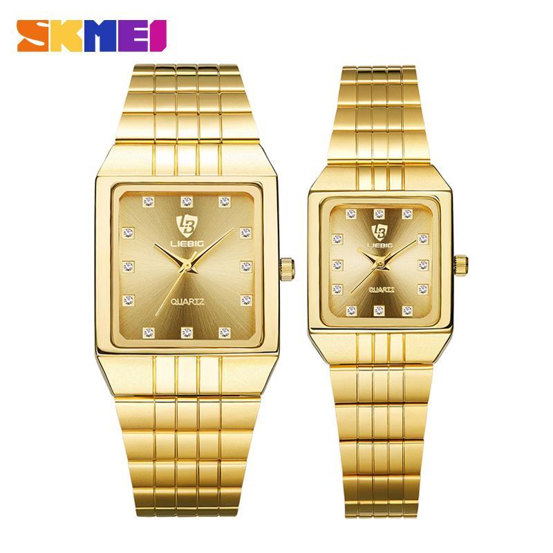 b992dee3cce7 Compre SKMEI Reloj De Cuarzo Dorado Hombres Relojes De Las Mujeres Relogio Masculino  Reloj De Lujo Superior Pulsera De Oro Relojes De Pulsera Acero Mujer ...