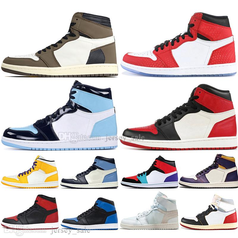 Cheap 1 High OG Travis Scotts Cactus Jack UNC Spiderman Mens Basketball shoes 1s Top 3 Banned Bred Toe Men Sports Designer Sneakers outdoor