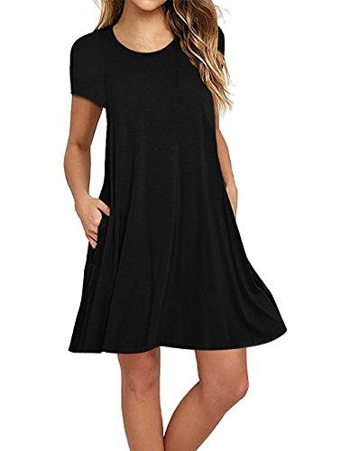 4f2a91e75ab Sanifer Women S Short Sleeve Cotton T Shirt Dress Swing Tunic Dress With Pockets  Long Black Dresses Cheap Prom Dress From Beke