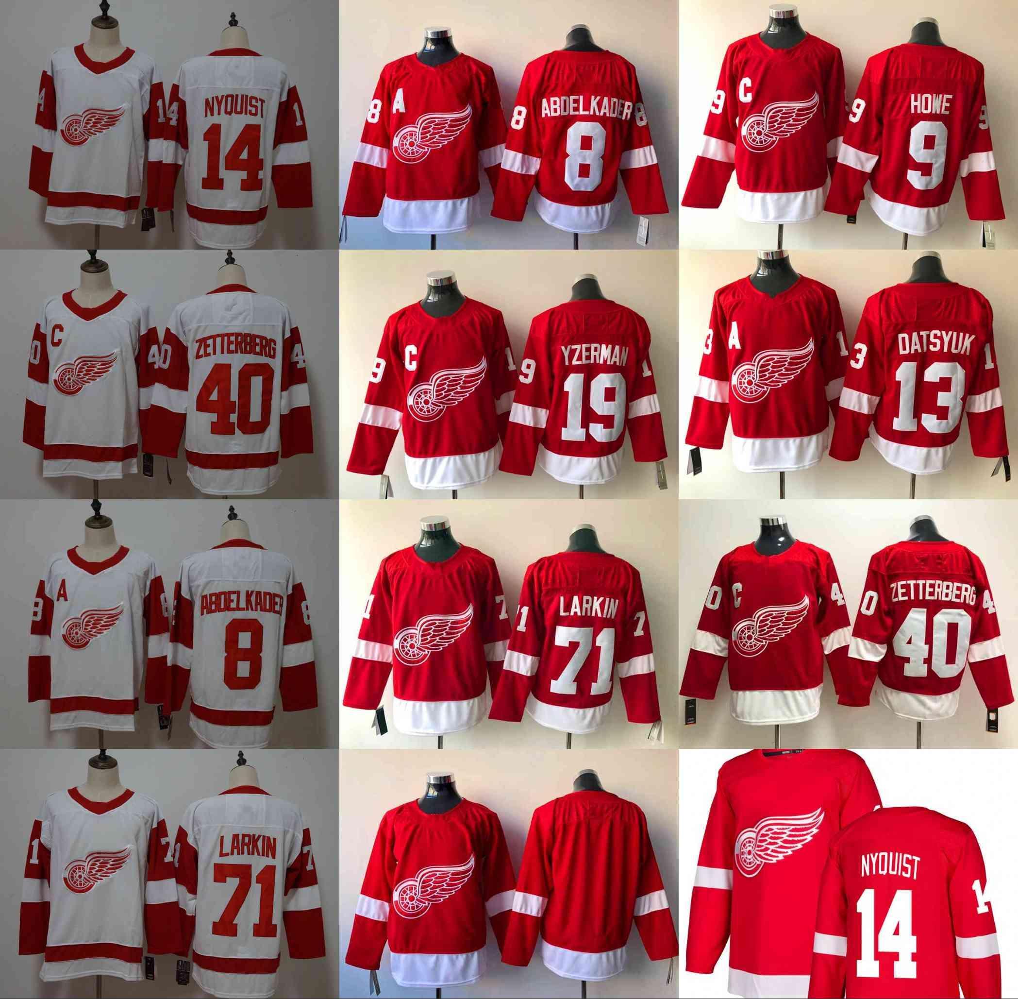 6a1950d4 2019 Detroit Red Wings 71 Dylan Larkin 8 Justin Abdelkader 9 Gordie Howe 40  Henrik Zetterberg 19 Steve Yzerman 13 Pavel Datsyuk Hockey Jersey From ...