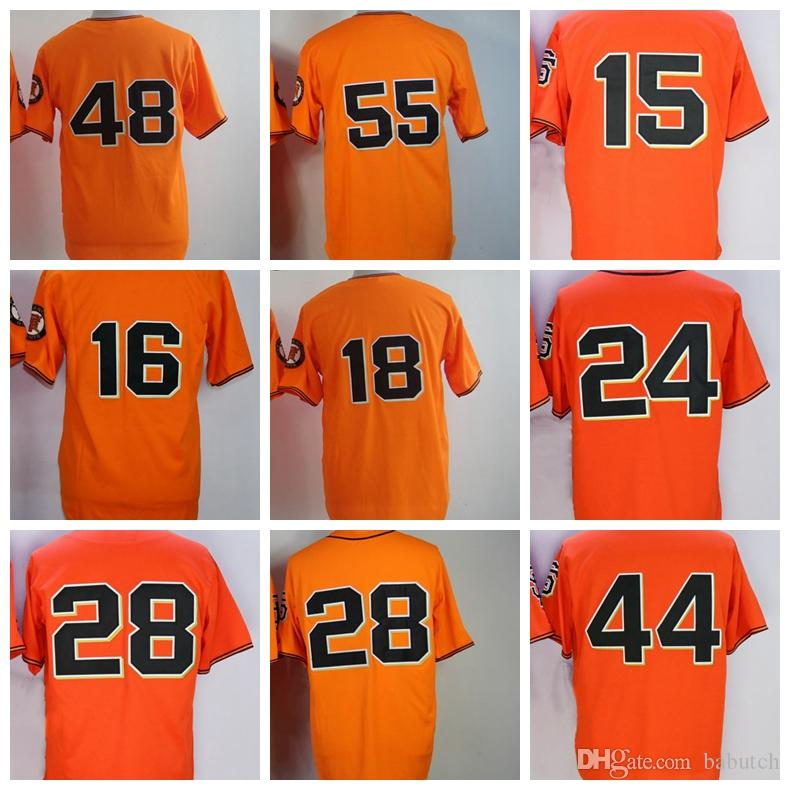 f27b4d74d9a 2019 15 Bruce Bochy 16 Angel Pagan 18 Cain 24 Willie Mays 28 Buster Posey  44 Willie McCovey Sandoval Tim Lincecum Baseball Jerseys From Babutch