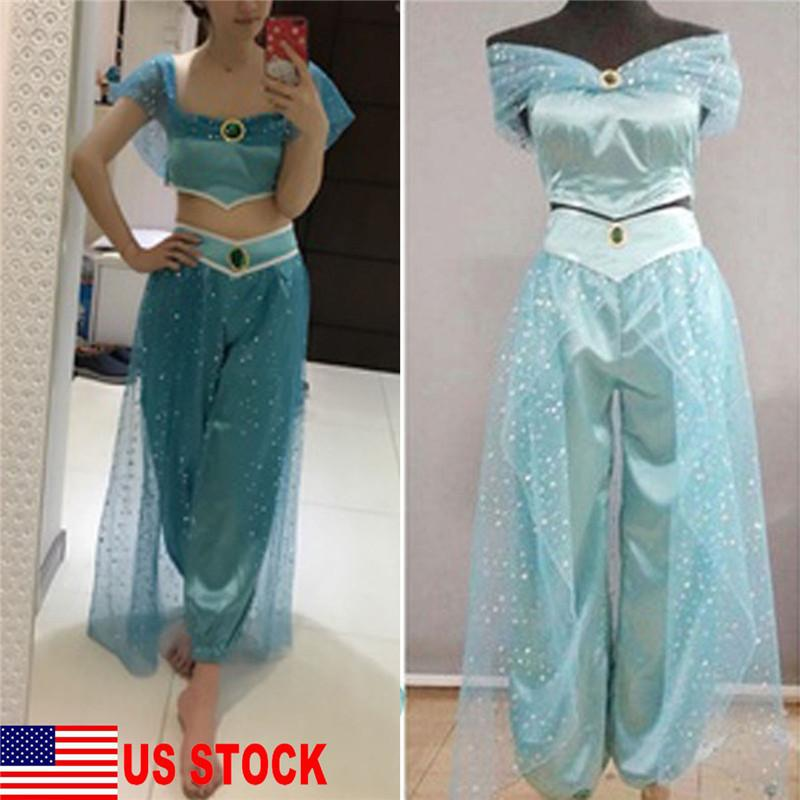 257be61dc358d 2019 Hirigin Women Sets Aladdin Jasmine Princess Cosplay Women Girl Fancy  Dress Up Party Costume Sets Mesh Decoration Pants+Crop Top From Biaiju