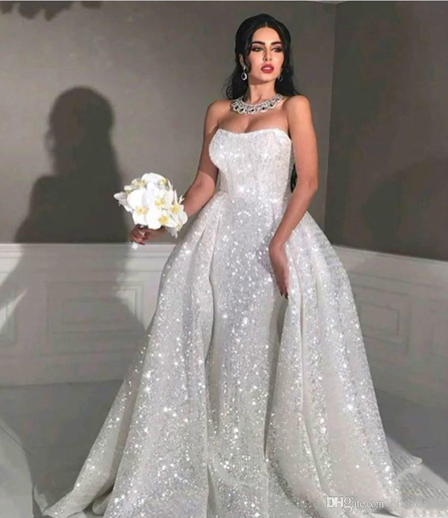 f25c6c1812 Glitter Mermaid Style Arabic Wedding Dresses with Detachable Train  Strapless Sweetheart Full Sequins Plus Size Overskirt Country Bridal Gown  Mermaid Style ...