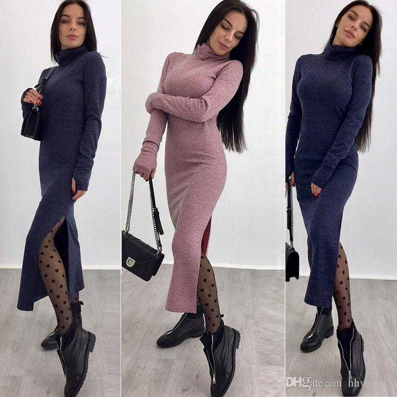 206874e128e Women Slim Fit Turtleneck Long Sleeve Maxi Knit Sweater Dress Fashion  Autumn Winter Casual Dresses Solid Bodycon Bandage Dress DYH1207 Red  Cocktail Dress ...