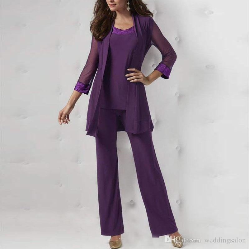 Purple Three Pieces Mother Of The Bride Pant Suits Long Sleeves Jackets Sequined Wedding Guest Dresses Plus Size Chiffon Mothers Groom Dress