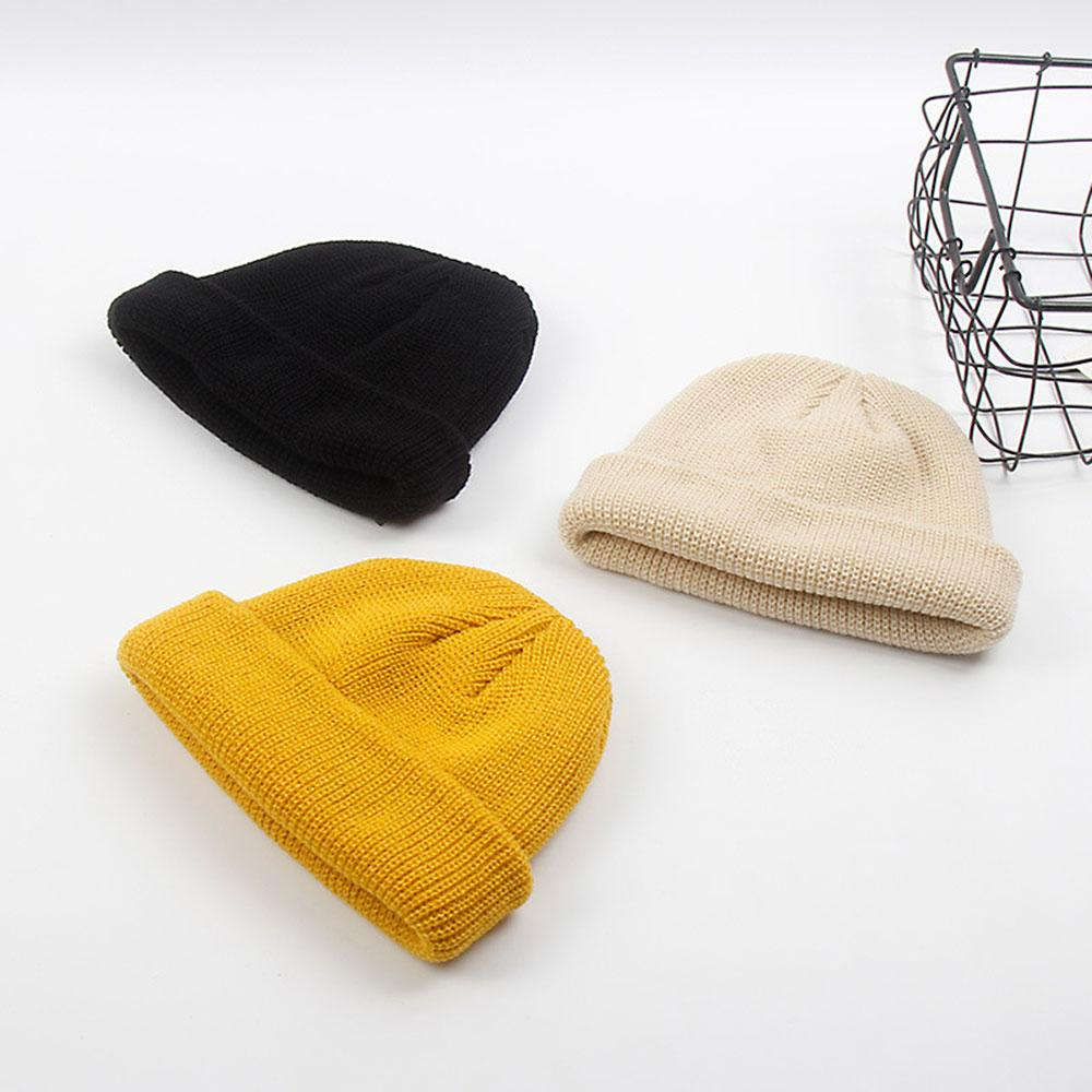 e24854b49 1PC Knitted Unisex Hat Skull Cap Men Women Winter Warm Hip Hop Beanie Hats  Navy Ribbed Turn Ski Docker Casual Solid Hats
