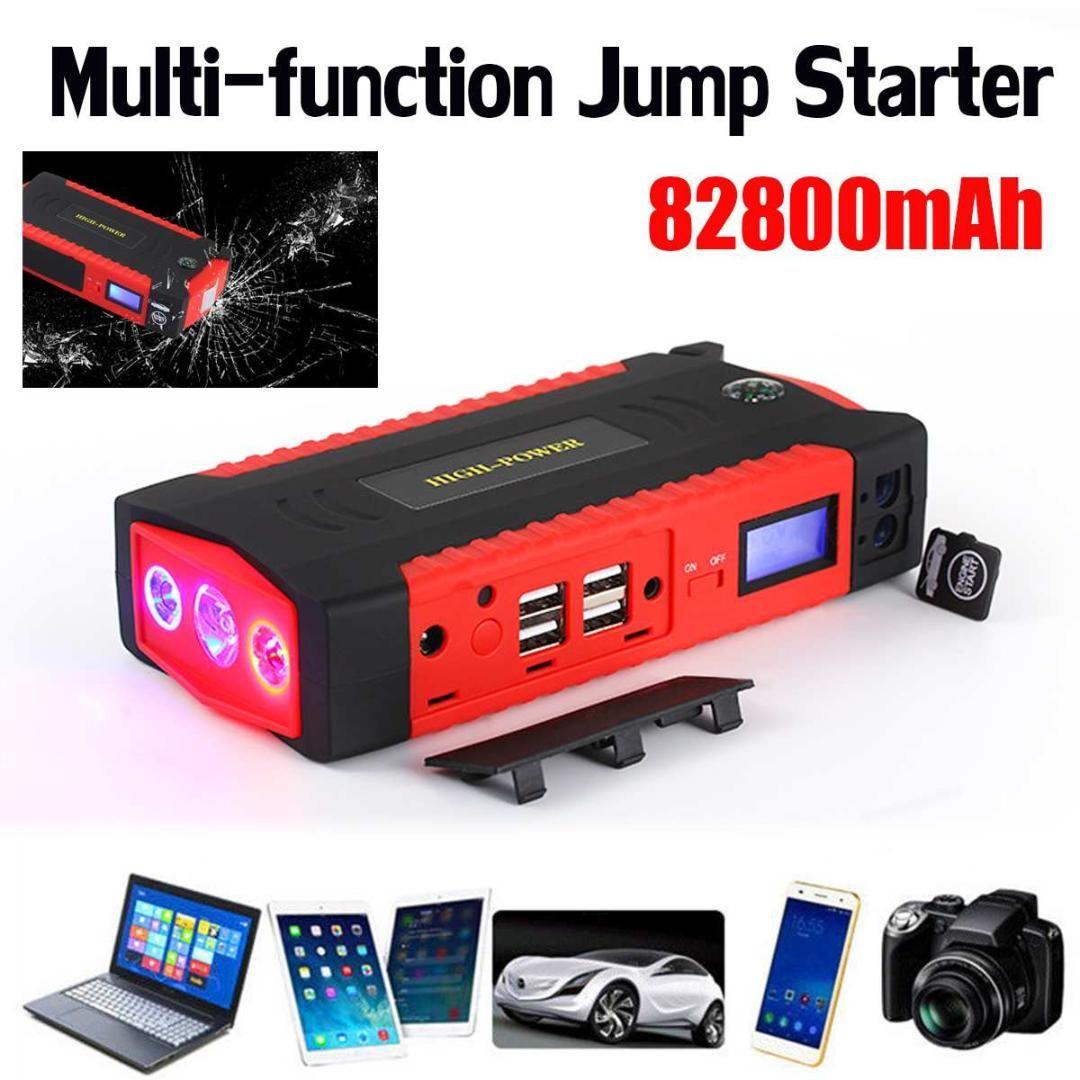 Multifunction Jump Starter 82800mah 12v Lcd 4usb Portable Car Battery Charger Power Bank Starting Device