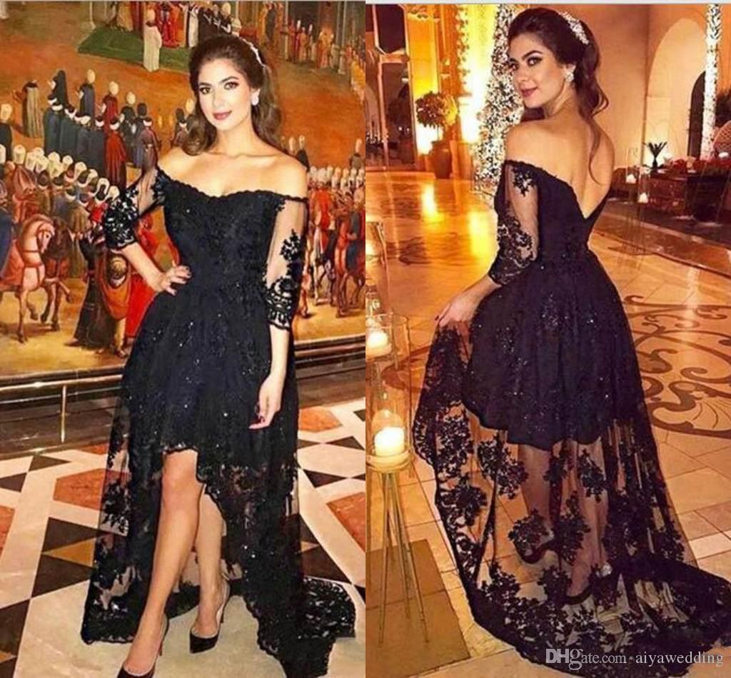 129f953f7 Compre Modest Black Lace Off Shoulder 3 4 Vestidos De Noche De Manga Larga  Bordados Apliques Vestidos Para Ocasiones Especiales Asimétricos Vestido De  ...